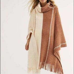 Free People Poncho Sweater StripeBrown IvoryFringe